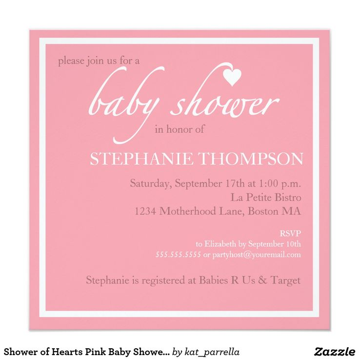 60 best baby shower invitations images on pinterest baby shower shower of hearts pink baby shower invitation stopboris Image collections