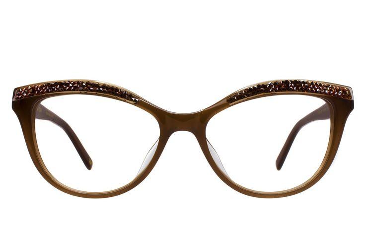ADELINE Eyeglasses: Cat-Eye Glasses Frame in Brown with Swarovski Crystals – Vin… – eyeglasses frames
