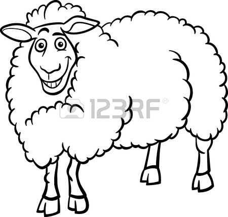 Zwart-wit Cartoon Illustratie van Grappige Schapen Landbouwhuisdieren voor Coloring Book