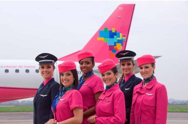 Azul Airlines, pink uniform...fighting Breast Cancer Campaign