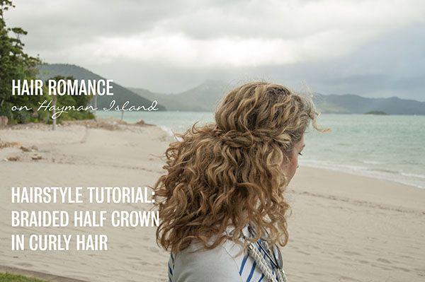 2 min hairstyle - half crown braid in curly hair - video tutorial