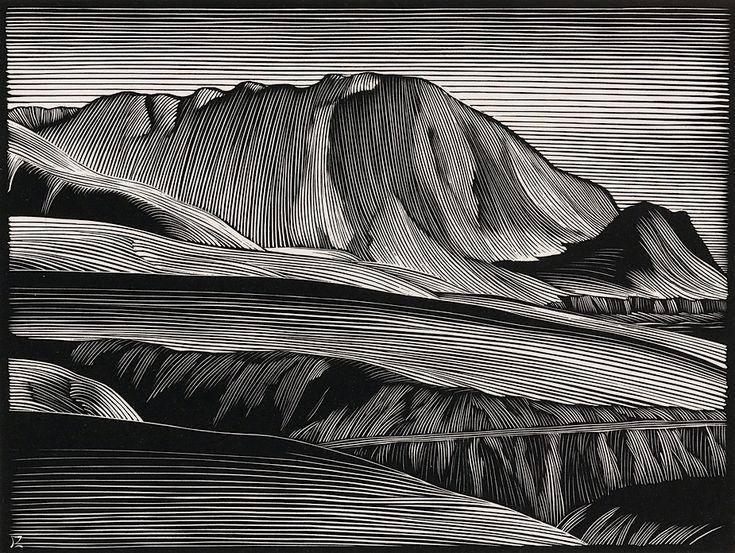 Paul Landacre, né en 1893 dans l'Ohio, est considéré comme un des grands graveur modernes. En plus de nus et d'oeuvres abstraites, il a réalisé ces gravures sur bois de paysages de l'ouest américain dont les éléments comme les collines et les arbres sont représentés par de fines lignes blanches qui contrastent avec le noir qui les entoure.