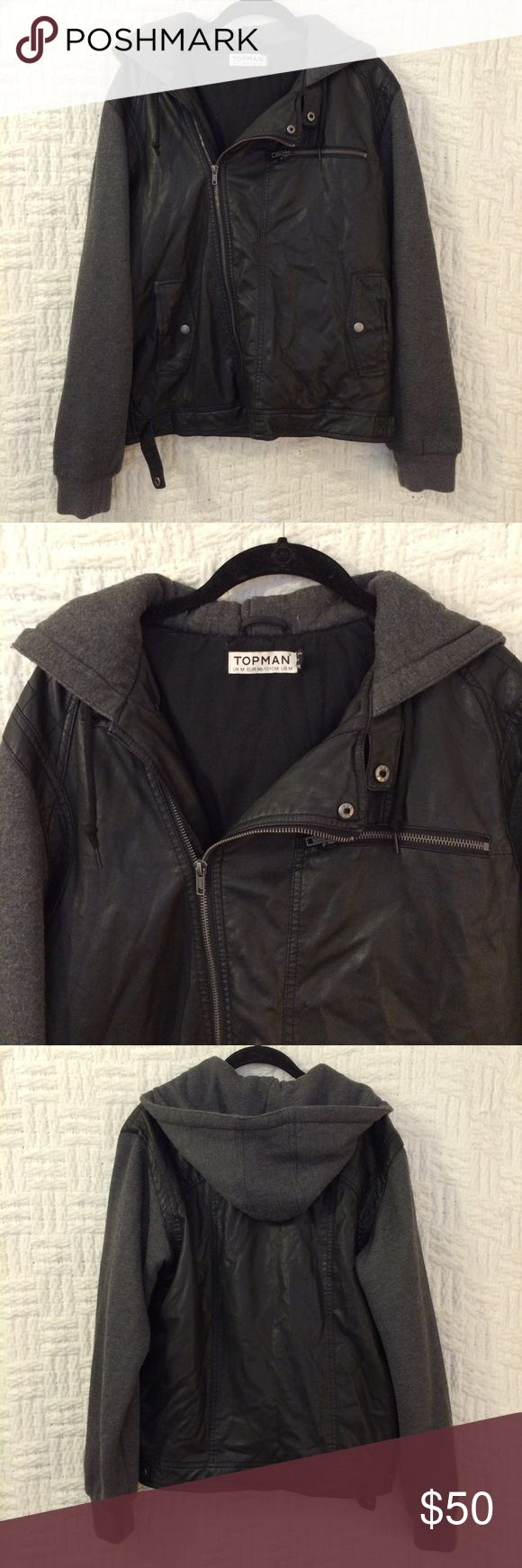 Topman Faux Leather Moto Jacket Topman faux leather moto jacket with hood size medium.  Preowned, no fading.  Piling on the non faux leather sections.  No trades / modeling. Topman Jackets & Coats