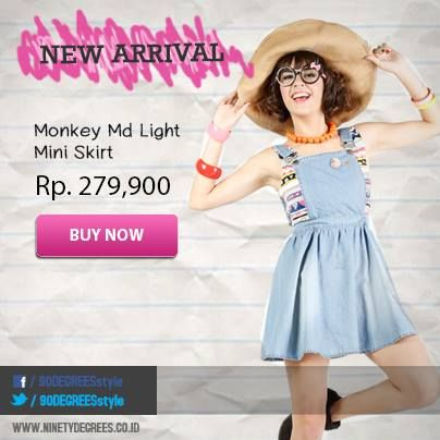New Arrival! Perfectly cute with Monkey MD Light Mini Skirt. Get it now: www.ninetydegrees.co.id