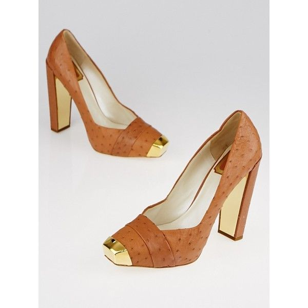Pre-owned Christian Dior Brown Ostrich Pumps ($395) ❤ liked on Polyvore featuring shoes, pumps, brown pumps, christian dior, block heel court shoes, christian dior pumps and pre owned shoes