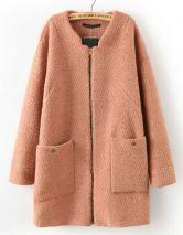 Abrigo cremallera bolsillos manga larga-Kaki