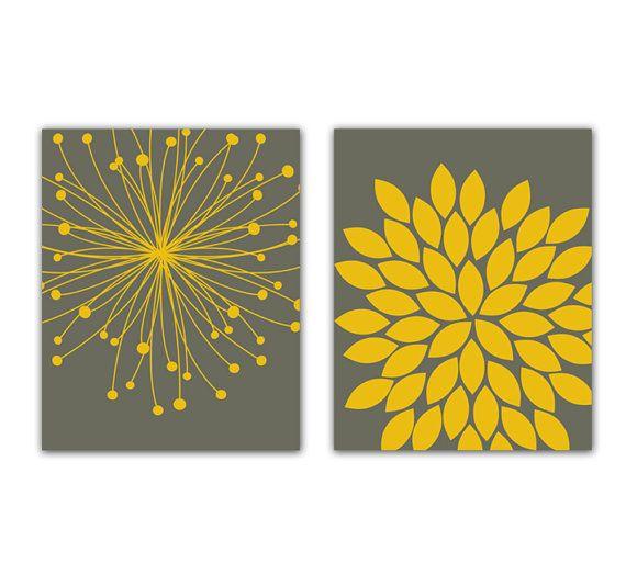 "Yellow Mustard and Gray Flower Bursts Botanical Art 2 - 8"" x 10"" Fine Art Modern Wall Art Set Prints Home Decor 140ab"