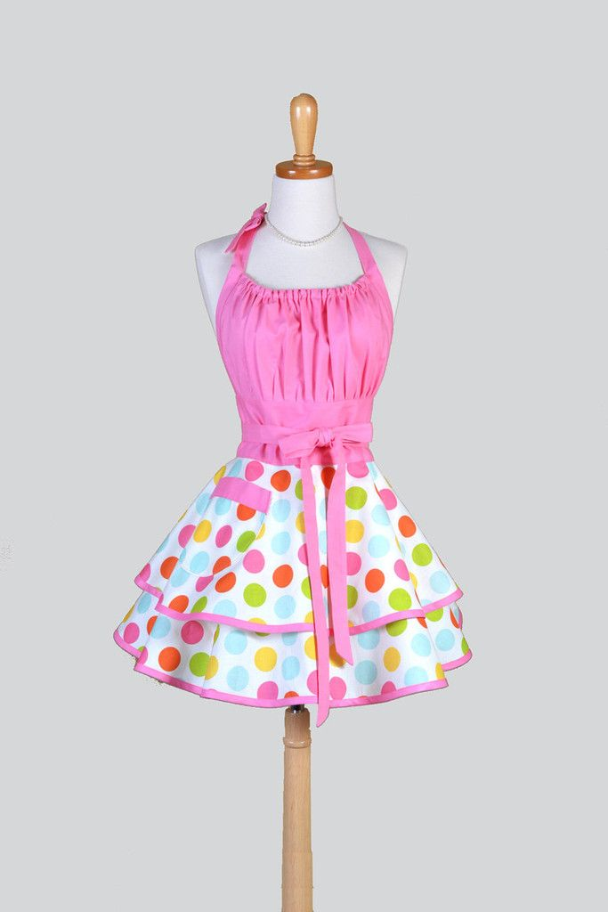 Flirty Chic - Confetti Polka Dot in Pink and Teal Pinup Apron - Creative Chics - 1