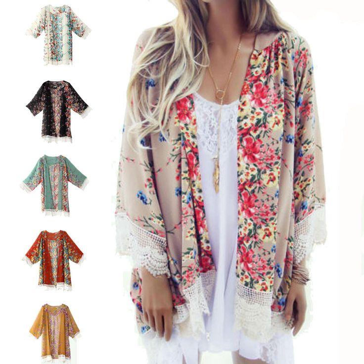 6 cores 2016 nova europeu franjas de rendas Hem mulheres Floral impresso capa de grandes dimensões Kimono Cardigan verão em Blusas de Moda e Acessórios no AliExpress.com | Alibaba Group