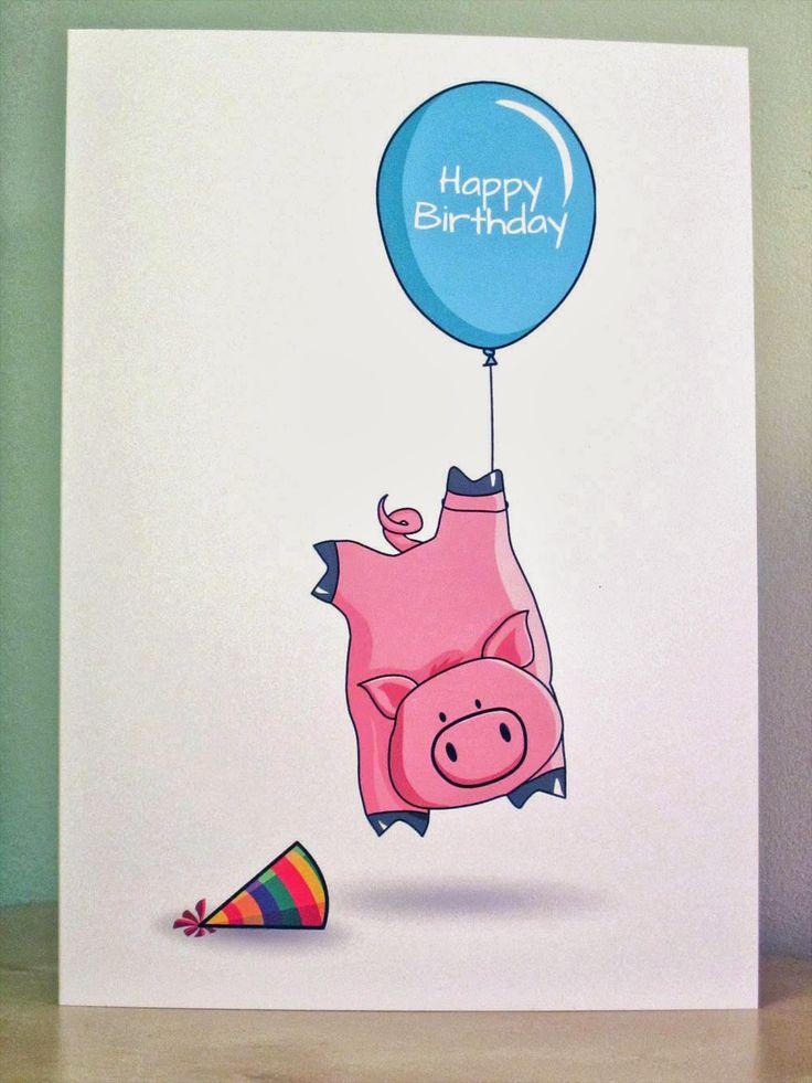Pig Birthday Card - http://www.etsy.com/listing/163527307/pig-birthday-card