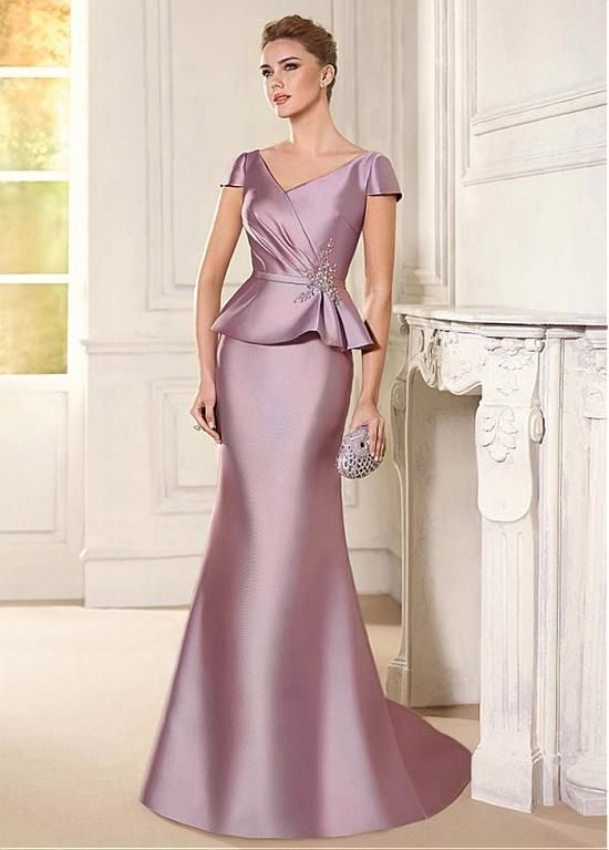 e7ff4ea5509 Buy discount Attractive Satin V-neck Neckline Mermaid Mother Of The Bride  Dress With Beaded Lace Appliques at Ailsabridal.com