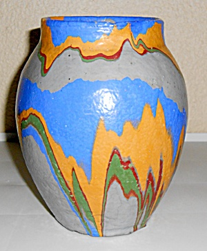 Ozark Roadside Tourist Pottery Rare Grey Body Vase!