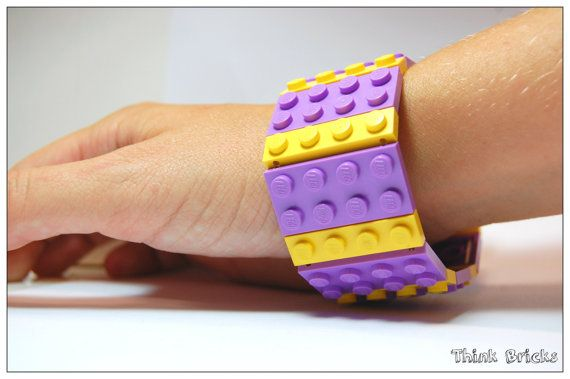 Cuff Bracelet with Lego® Bricks Yellow and Medium Lavender 2x4 plate womens gift for her birthday Lego® party