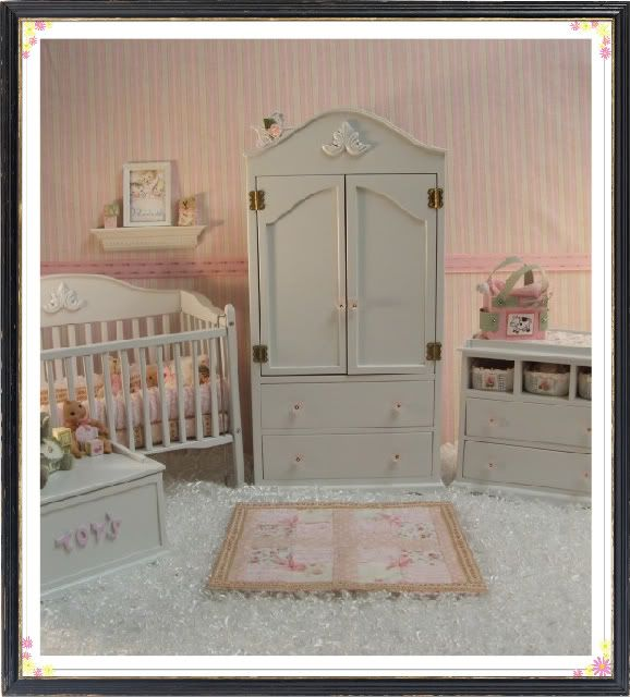 Wood Ooak Polymer Clay Baby Doll Armoire Closet Jenna