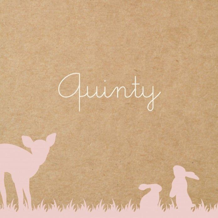 Geboortekaartje kraft karton bosdieren Quinty - dubbel voor