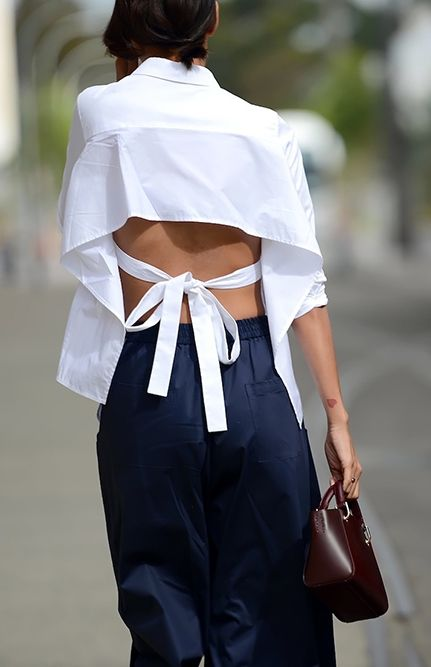 Structured White Shirt | Cut Out Details | Open Back | Minimal and Stylish | StreetStyle | TheUNDONE #beundone