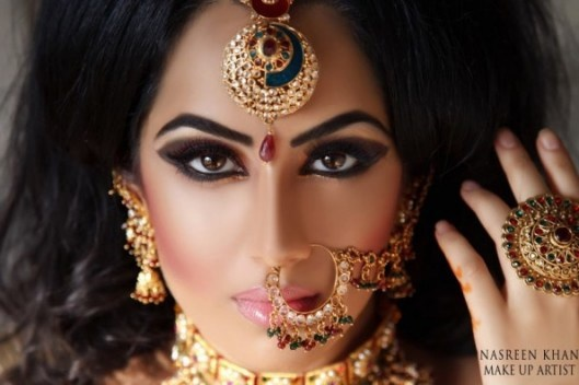 Urban Jungle celebrates cultures of all nations and today India gets a salute! #NasreenKhan, makeup artist did an amazing job on this photo: The model is gorgeous, but the jewels are what caught my attention! Ornate jewelry using a lot of gold, stamped gold, and gemstones has been part of Indian fashion for centuries.