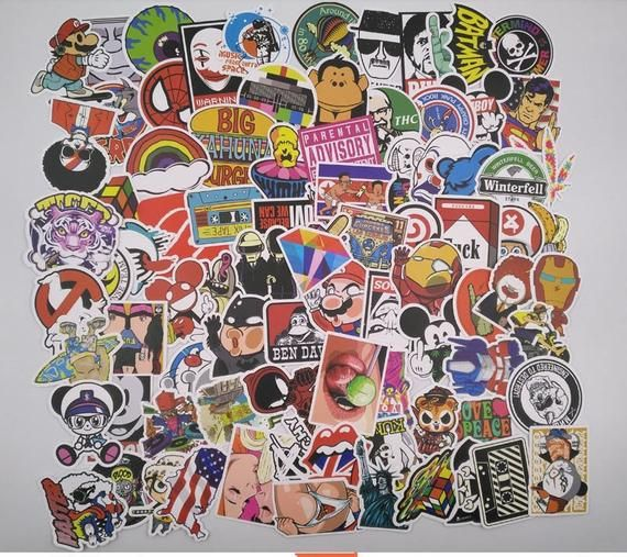100 Vinyl Stickers Stickerbomb Cool Vinyl Sticker Bumper Stickers Cool Stickers! Sticker Bombing Pack Stickers Bomb Bumper Decal