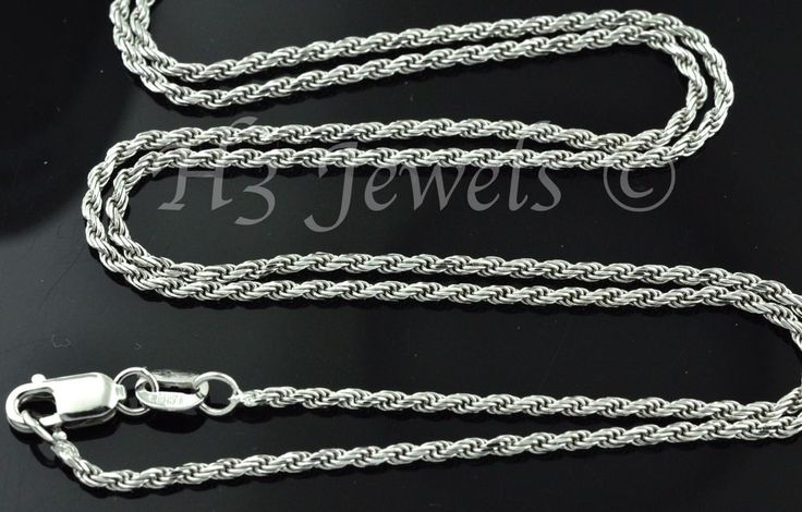 14k solid white gold rope chain necklace 24 inches italian #3443 5.00 grams  #h3jewels #Chain