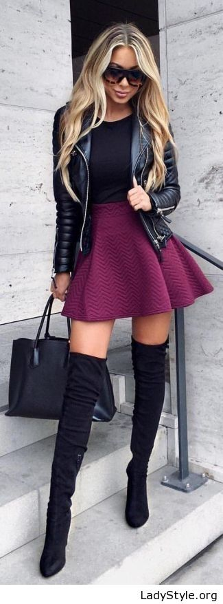 Purple skirt and all black - LadyStyle