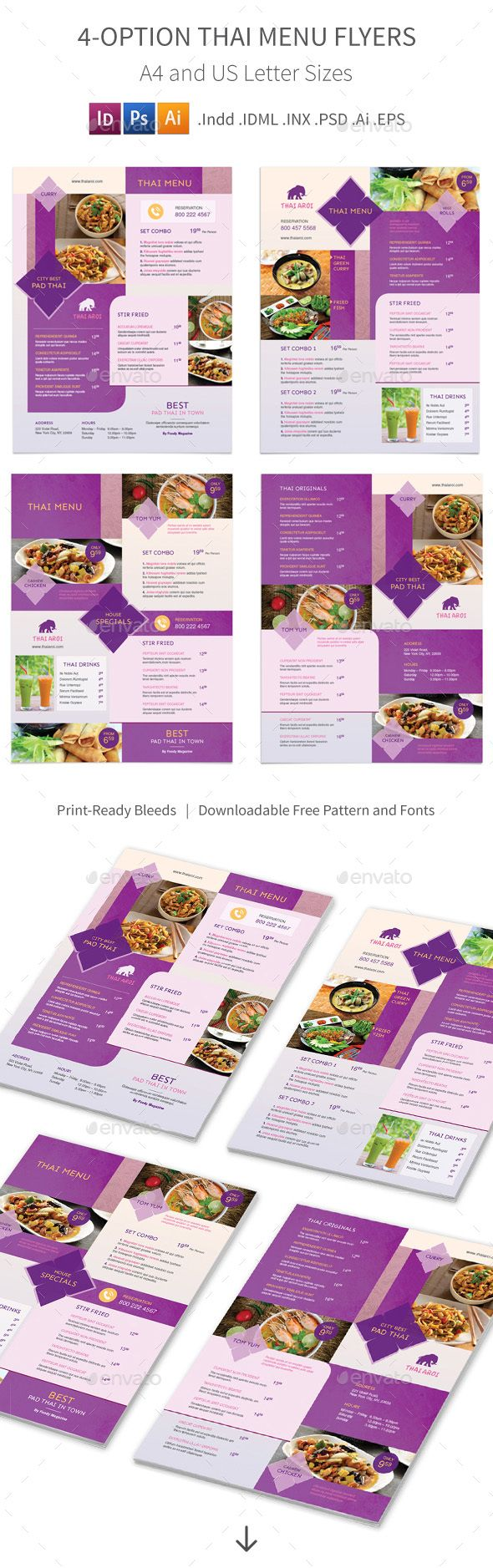 Thai Restaurant Menu Flyer Template 3 – 4 Options - Food Menus Print Template PSD, InDesign INDD, Vector EPS, Vector AI. Download here: http://graphicriver.net/item/thai-restaurant-menu-flyers-3-4-options/16428025?s_rank=62&ref=yinkira