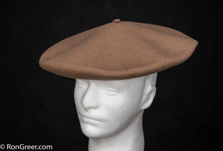 12.5 inch Basque Beret in Camel, made by Elosegui of Tolosa, Spain. Available here; http://www.rongreer.net/basque-beret-shop/