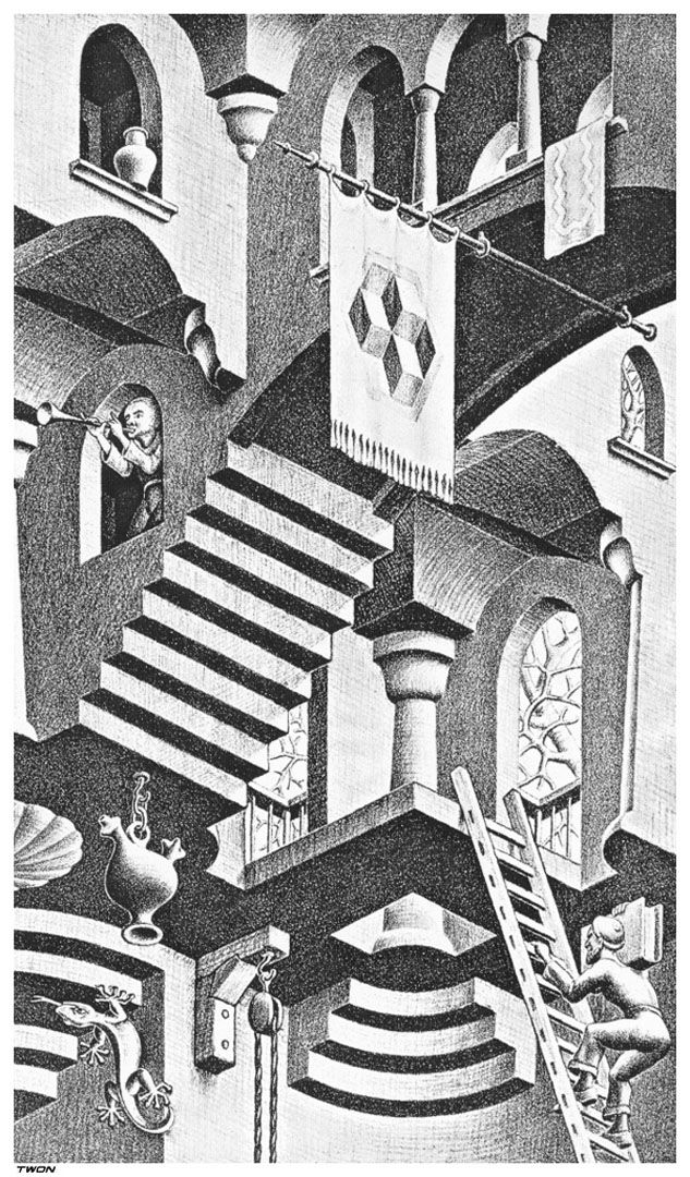 Escher M Optical Illusion Art   ... And Convex Detail - Optical Illusion M C Escher Art Wallpaper Picture