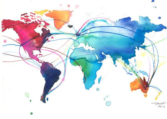 World Map for Dennis print from original by JessicaIllustration, $25.00 #watercolor #world #map