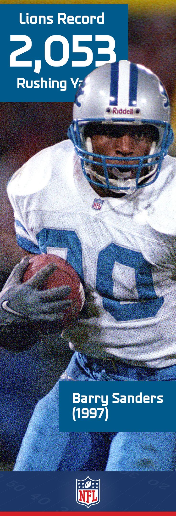 Barry Sanders is a fan favorite and and all-time great, and for good reason. One of the best running backs to ever step on the gridiron, Sanders holds the Lions record with his MVP-worthy 2,053 yards in 1997.