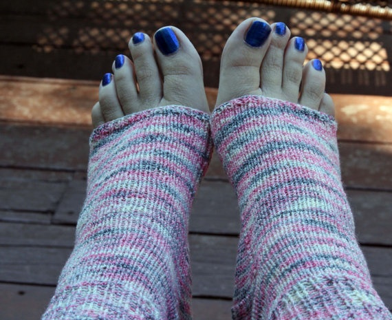 Knitting Pattern For Pedicure Socks : Knitted Pedicure Socks - Hand knit flip-flop socks - Toe ...