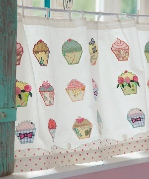 cupcake curtains :-)  It's probably a good thing I don't have a window in my kitchen, since these would NOT match anything in there but I'd have to have them anyway!