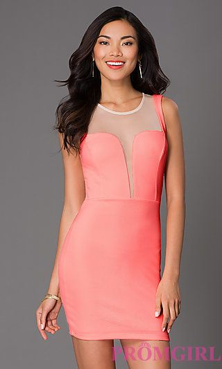 Short Sleeveles Dress with Sheer Neckline and Back at PromGirl.com