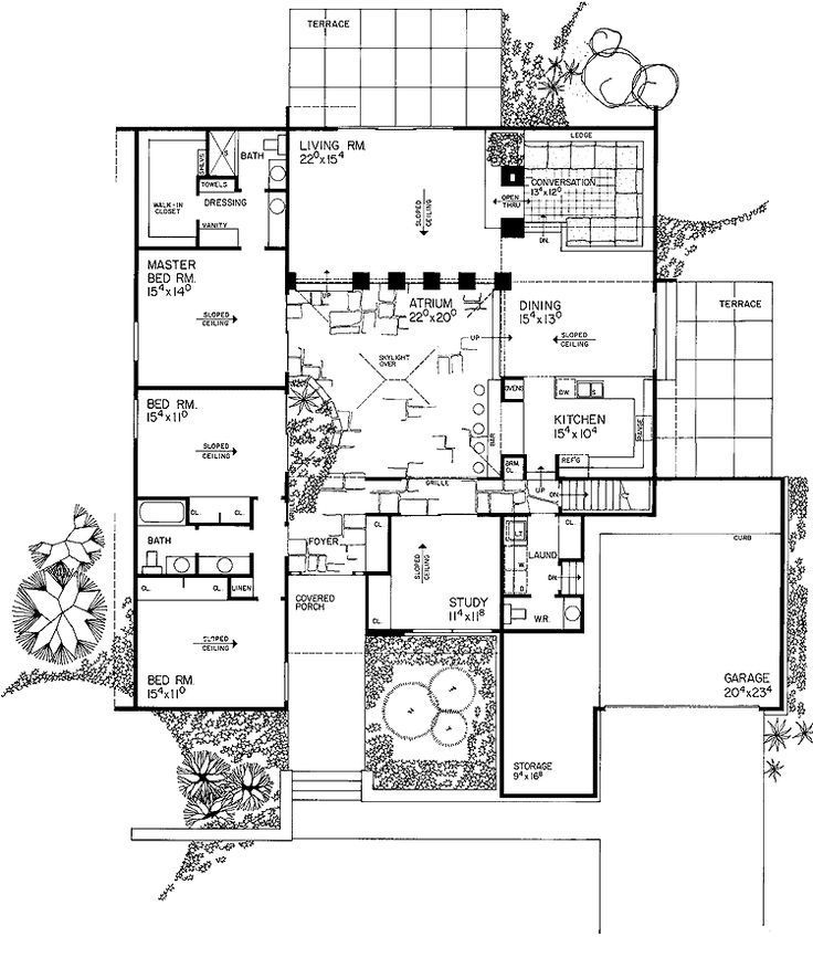 House Plans With Atriums In Center Courtyard House Plans Solar House Plans Contemporary House Plans