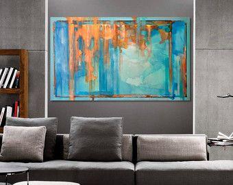 Gran turquesa azul verde y naranja abstracto pintura por - Pintura azul turquesa ...