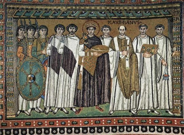 cesarz justynian z dworem mozaika w kościele San Vitale w Rawennie