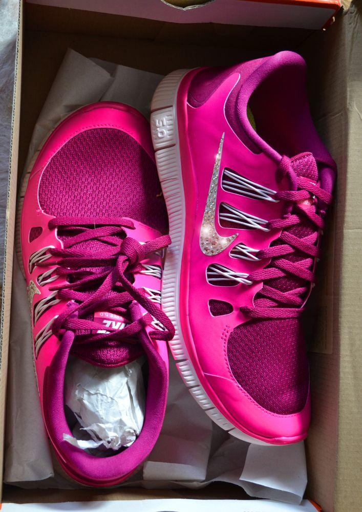 newest Nike Free Run Swarovski Crystal Pink On Feet running shoes 2015