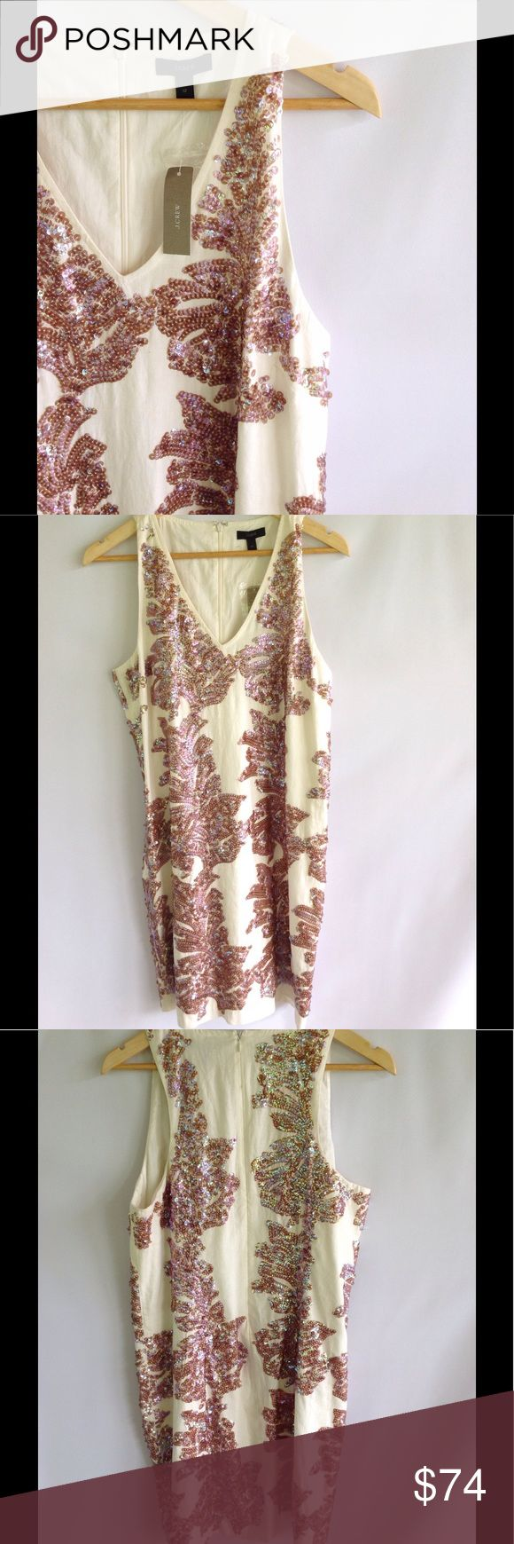 J Crew Cream Sequin Dress NWT Gorgeous sequin dress! New with tags!! Has small mark on back, very faint. Shown in last pic. Excellent condition! J. Crew Dresses