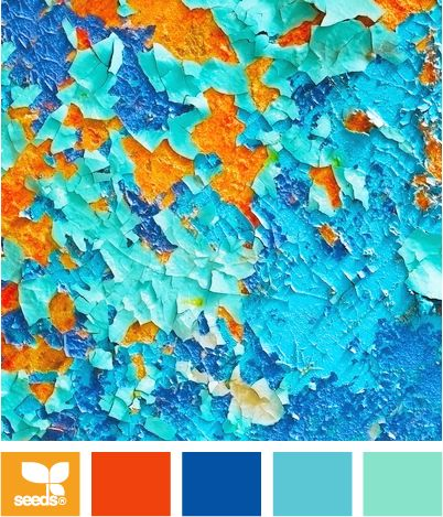 Color: Peeling Brights by Design Seeds - orange, dark orange, deep blue, robin's egg blue, turquoise.