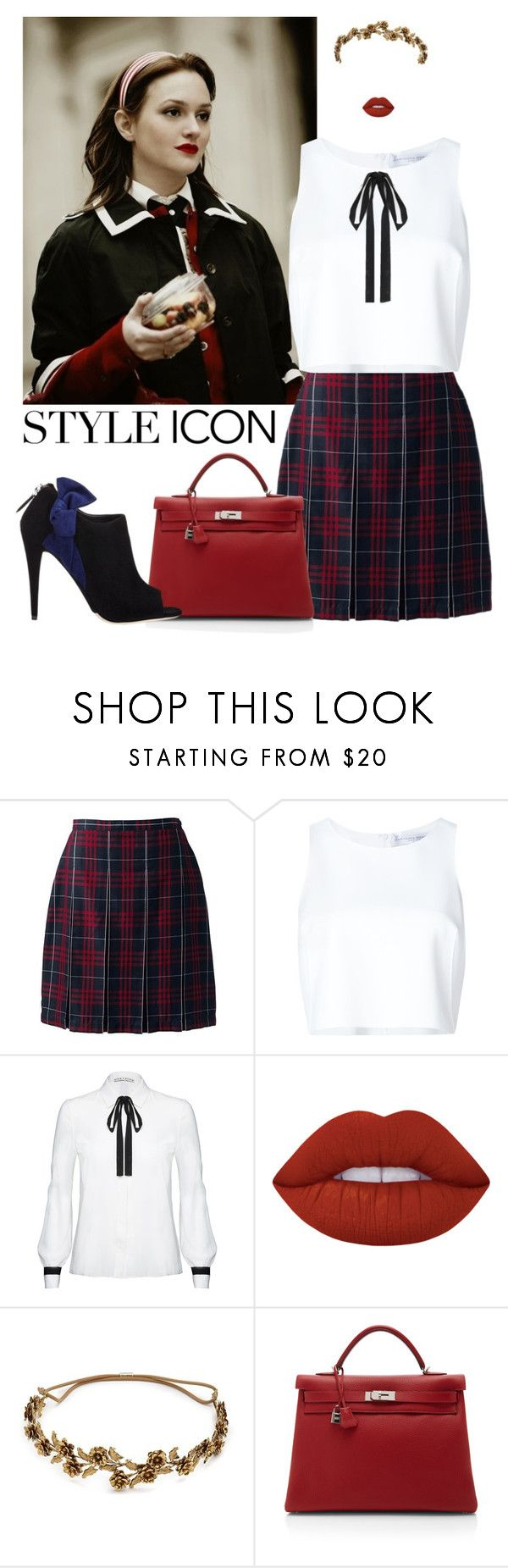 """dress like blair waldorf"" by m-huber ❤ liked on Polyvore featuring Lands' End, Carolina Herrera, Alice + Olivia, Lime Crime, Jennifer Behr, Hermès, Miu Miu and pleatedskirts"