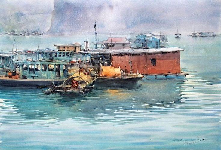 Fishermen in Ha Long Bay by Direk Kingnok in Khon Kaen, Thailand - The Watercolor Gallery