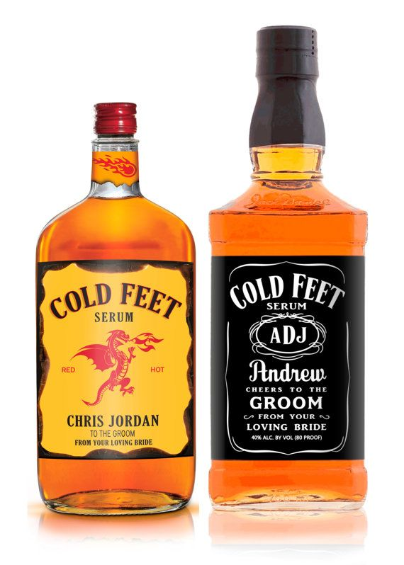 Grooms Gift - Cold Feet Serum - Clever Gift from Bride - Groom Cold Feet - Whiskey Label
