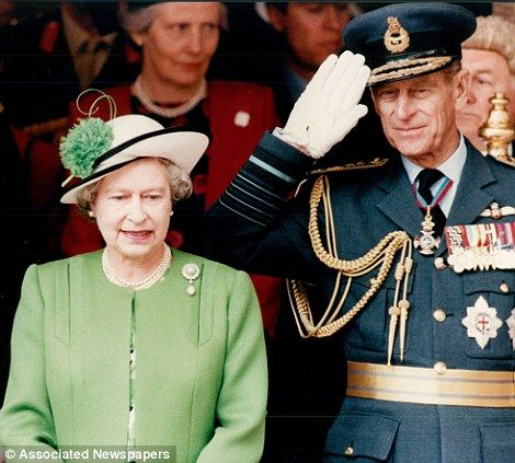 1991: British forces homecoming parade. Queen Elizabeth II & Prince Philip attend the homecoming parade for the British forces fighting in the Gulf War in Kuwait