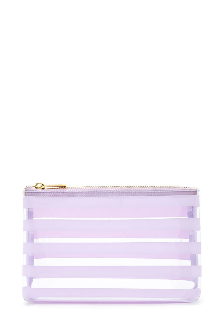 Striped Clear Makeup Bag | Forever 21 - 1000220971