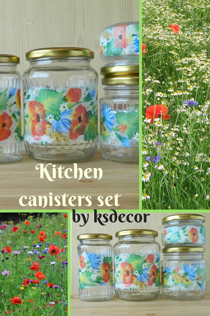 Red canister set Hand painted jars Poppy painted glass jars ...