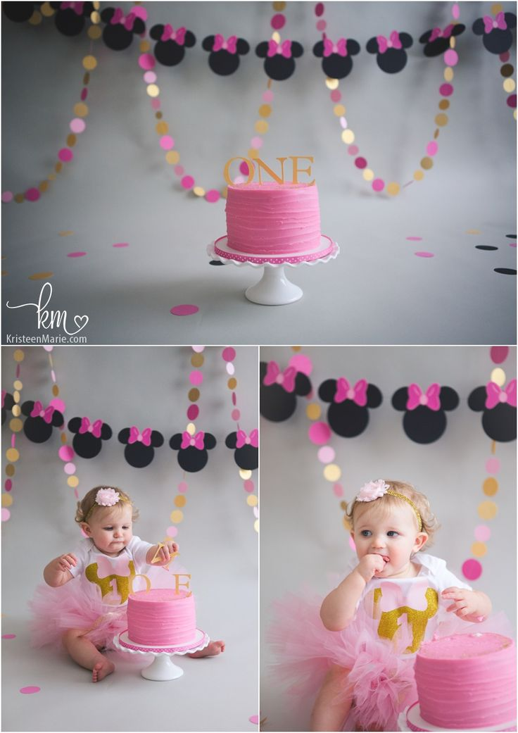 Pink and Gold Minnie Mouse Cake Smash Session Minnie