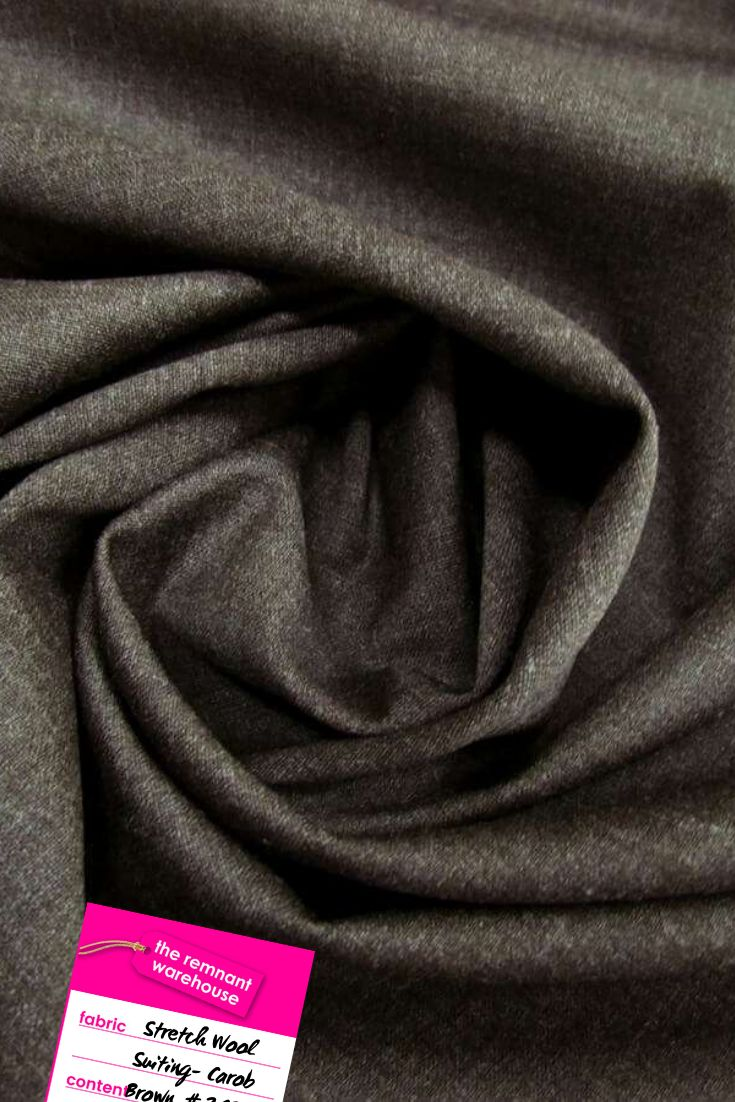 Stretch Wool Suiting- Carob Brown #2196