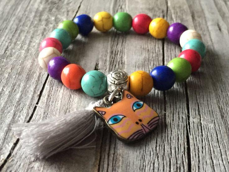 Kids gemstone bracelet, Stacking stretch bracelet, Cat bracelet, colorfull beaded bracelet, girl boho tassel bracelet, girls bracelet gift door KennlyDesign op Etsy