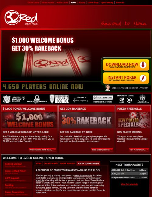 Play online poker with 32Red Poker, brought to you by 32Red Plc, operators of the award winning online casino at 32Red.com. 32Red Poker offers fantastic free poker software with stunning graphics, a wide variety of online poker games and opponents from all over the world