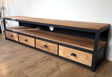 """Meuble tv en acier noir mat et chêne massif composé de 4 tiroirs avec poignées """"coquilles"""". meuble entièrement fermé sur l'arrière par une plaque acier perforée.  Dimensio - 20898388"""