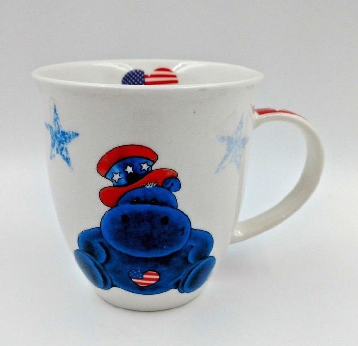 Enesco Nici Patriotic Hippo Mug Red White Blue Stars USA Flag Heart Bell Shape #Enesco